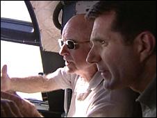 David Shukman on plane (BBC)