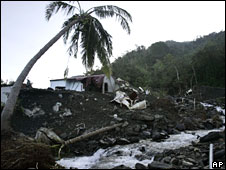 A home damaged by mudslides and flooding, Hsinfa, 14 August