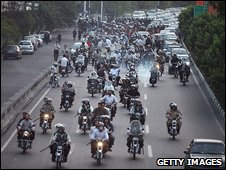 File photo of Basij militia on motorbikes during a protest in Tehran, 9 July 2009
