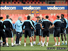 Mark Hughes addresses his squad during pre-season
