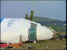 Pam Am flight 103 wreckage in field in Lockerbie