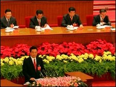 President Hu Jintao gives a speech at the Great Hall of the People - file photo