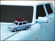 Herpa miniature models of old and new Trabant