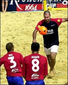 Eric Cantona playing beach soccer