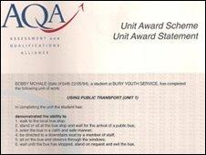 AQA certificate for using public transport