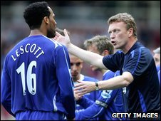 Joleon Lescott (left) and David Moyes (right)