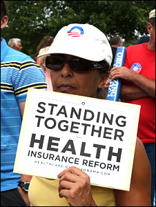 A supporter of healthcare reform, at a Hagerstown, Maryland, town hall meeting, 13 August 2009
