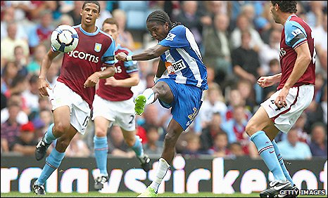 Hugo Rodallega unleashes a stunning strike to put Wigan ahead at Aston Villa