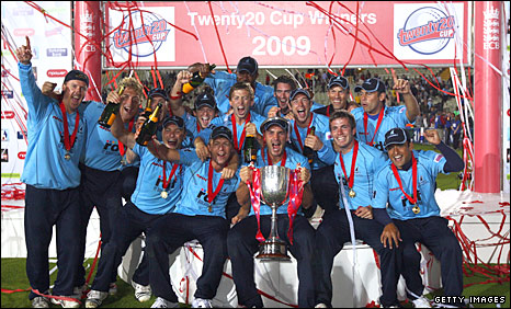 Sussex celebrate winning the Twenty20 Cup