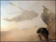 Gordon Brown's helicopter arrives in Musa Qala
