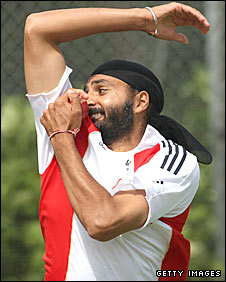Monty Panesar in action for England in the nets