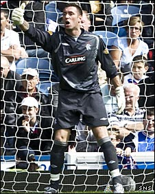 Allan McGregor in goal for Rangers against Falkirk