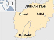 Map showing location of Herat, Helmand and Kabul