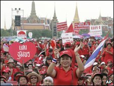 Thaksin Shinawatra supporters in Bangkok - 17 August 2009