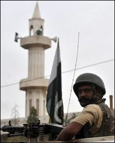 Pakistani paramilitary soldier stands guard in a sensitive area of Karachi