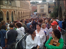 Banksy queue. Photograph: Nigel Megitt