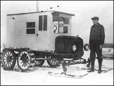 Mail van adapted to run on snow c.1930