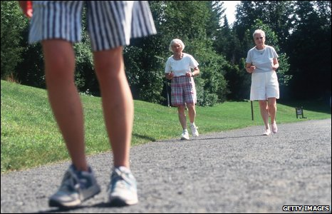 Elderly people exercising