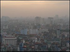 The Hanoi skyline at sunset