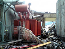 Aftermath of accident at Sayano-Shushenskaya power station (17 August 2009)