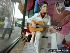 Elvis Presley souvenir doll in shop window