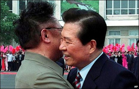 South Korean President Kim Dae-jung, right, is embraced by North Korean leader Kim Jong-il, 2000.