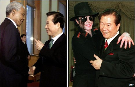 Kim Dae-jung with Nelson Mandela (l) and Michael Jackson (r)