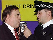 John Prescott is breathalysed