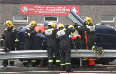 Firefighters at crash training site