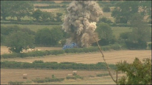 A WWII bomb device is detonated by the RAF in North Yorkshire
