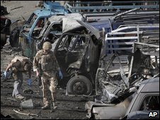 British troops at the site of a suicide car bomb in Kabul on 18 August 2009
