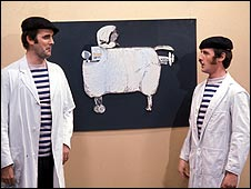 Monty Python scene with Frenchmen demonstrating sheep aircraft