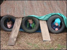 Farley Nursery children make a camp