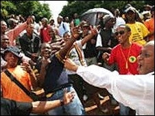 A protest against an apparently racist video shot at a university in Bloemfontein, South Africa, on Wednesday