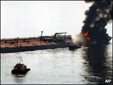 Tanker on fire in Malacca Straits - 19 August 2009