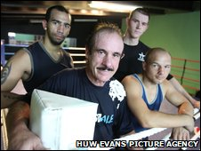 Bradley Pryce, Harry Miles and Gavin Rees with coach Enzo Calzaghe