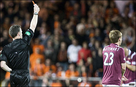 Michael Stewart was sent off at Tannadice on Monday