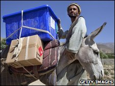 Donkey carrying election material in Panhjshir