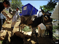 A donkey is used to deliver a ballot box