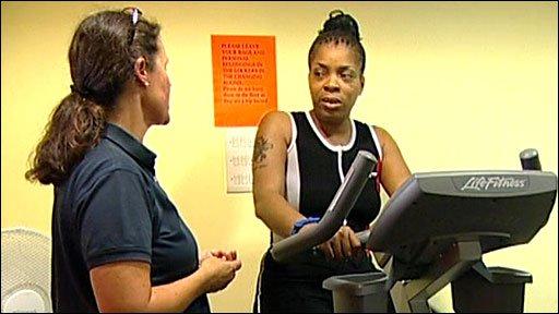 Staff in a hospital gym