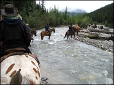 The Southesk famiy riding through the Canadian wilderness (Bryan Hamilton)