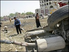 Aftermath of bombing in Baghdad, 19 August 2009