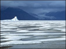 Arctic landscape, the frozen sea of Eclipse Sound, Baffin Island, Canada