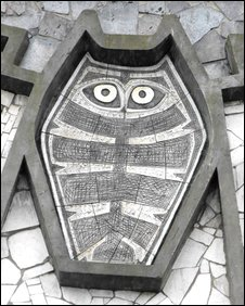Alan Boyson's mural, The Tree of Knowledge (detail: owl of wisdom)