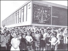 Pupils gather around the new Cromwell Secondary School in 1962