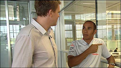 Lewis Hamilton gives Jake Humphrey a behind-the-scenes tour