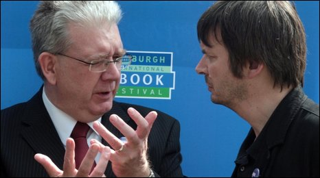 Culture Minister Michael Russell with Ian Rankin at the Edinburgh Book Festival