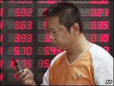 Man using mobile phone in Shanghai
