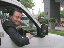 Ian Walker of LaundryRepublic driving a van