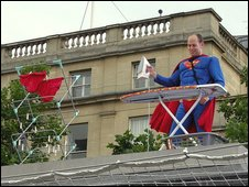 Superman ironing his underpants on the Fourth Plinth